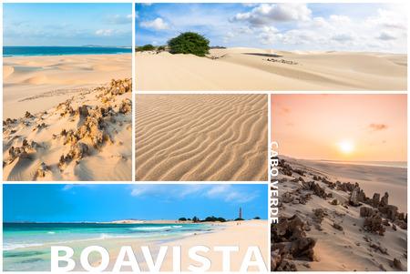 montage: Picture montage of Boavista island landscapes  in Cape Verde archipel