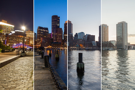 transition: Boston skyline day to night montage - Massachusetts - USA - United States of America