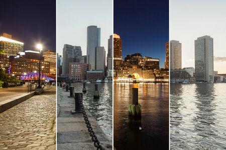 Boston skyline day to night montage - Massachusetts - USA - United States of America photo
