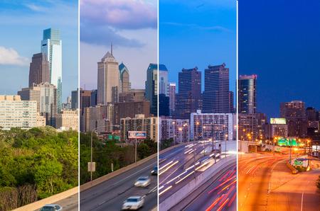dia y noche: Filadelfia día horizonte de la noche montaje - Pennsylvania - EE.UU. - Estados Unidos de América