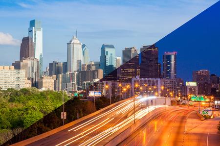 Philadelphia skyline day to night montage - Pennsylvania - USA - United States of America photo