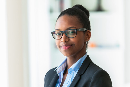 Portrait of a young African American business woman - Black people 스톡 콘텐츠