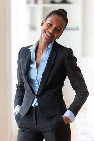 corporate woman: Portrait of a young African American business woman - Black people Stock Photo