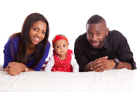 Portrait of a young african american family