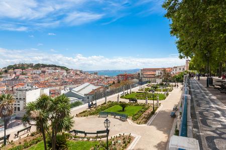 viewpoints: Lisbon rooftop from Sao Pedro de Alcantara viewpoint - Miradouro in Portugal