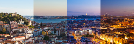 transition: Aerial view montage of Lisbon rooftop from Senhora do Monte viewpoint (Miradouro)  fromn day to night in Portugal