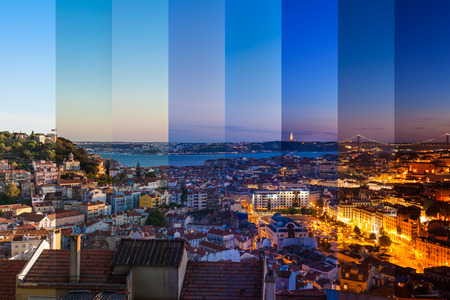 Aerial view montage of Lisbon rooftop from Senhora do Monte viewpoint (Miradouro)  fromn day to night in Portugal