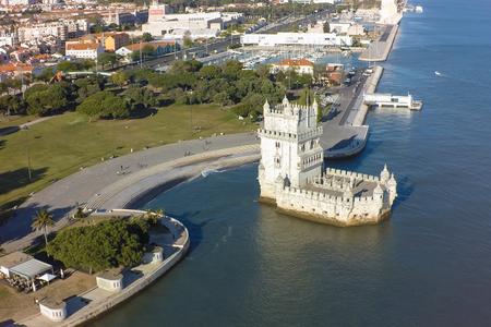 torre: Aerial view of Belem tower - Torre de Belem  in Lisbon, Portugal