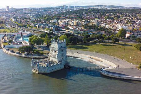 belem: Aerial view of Belem tower - Torre de Belem  in Lisbon, Portugal