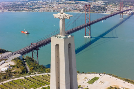 christian: Aerial view Jesus Christ monument watching to Lisbon city in Portugal