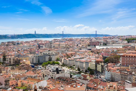 senhora: Aerial view of Lisbon rooftop from Senhora do Monte viewpoint (Miradouro)  in Portugal