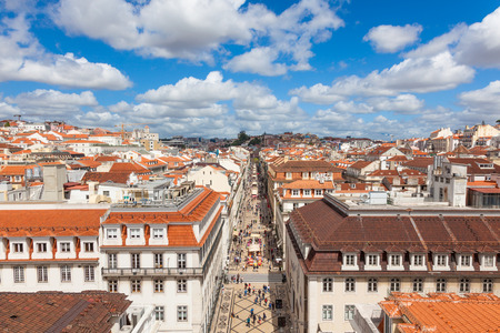 croud: Aerial view  of Augusta street near commerce square in Lisbon , Portugal