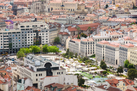 senhora: Aerial view of Martin Moniz square in  Lisbon from Senhora do Monte viewpoint (Miradouro)  in Portugal