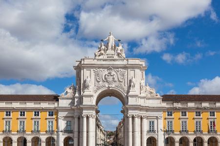triumphal: Commerce square - Praca do commercio in Lisbon - Portugal Stock Photo