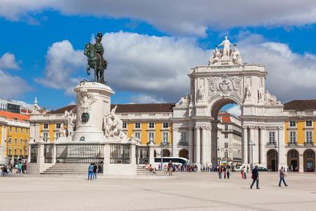 lisboa: Commerce square - Praca do commercio in Lisbon - Portugal Stock Photo