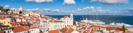 viewpoints: Panoramic view of Lisbon rooftop from Portas do sol viewpoint - Miradouro in Portugal