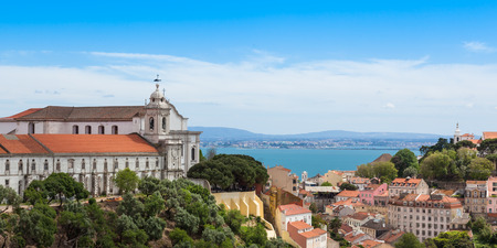 senhora: Panoramic view of Miradouro da Graca from Senhora do monte viewpoint - miradouro in Lisbon, Portugal