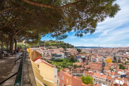 viewpoints: Miradouro da Graca viewpoint  in Lisbon, Portugal Stock Photo