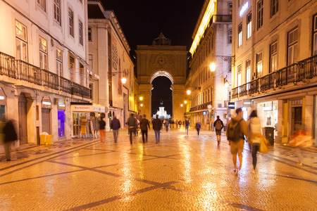walking street: Augusta street by night near commerce square in Lisbon , Portugal Stock Photo