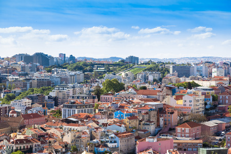 viewpoints: Lisbon rooftop from Sao Jorge castle viewpoint  in Portugal