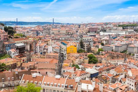 senhora: View of Lisbon from Miradouro da Graca viewpoint  in Lisbon, Portugal