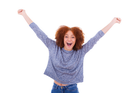 woman arms up: Black happy  African American girl  raising arms up, isolated on white background