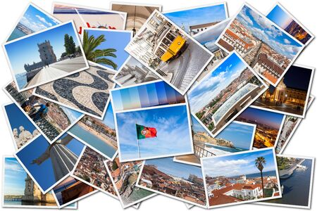portugal: Picture Mosaic collage of  Lisbon city in Portugal