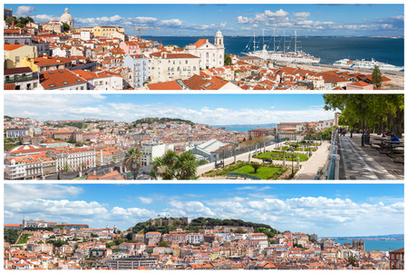 of pano: Panoramic Picture Mosaic collage of  Lisbon city viewpoints - Miradouros in Portugal