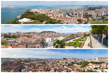 viewpoints: Panoramic Picture Mosaic collage of  Lisbon city viewpoints - Miradouros in Portugal