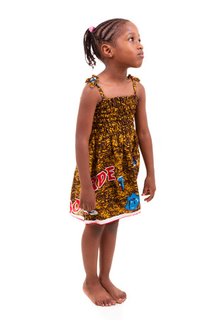 braids: Little african american girl isolated on white background