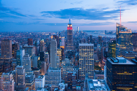 Aerial night view of Manhattan skyline - New York - USA