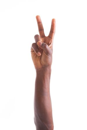 finger: African american hand making peace  gesture - Black people Stock Photo