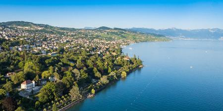 leman: Aerial view of Leman lake -  Lausanne city in Switzerland Stock Photo
