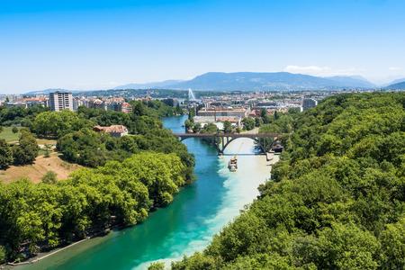 rhone: Aerial view of  Geneva city in Switzerland