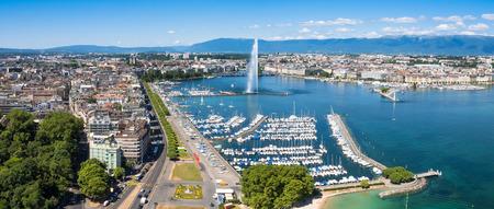 green boat: Aerial view of Leman lake -  Geneva city in Switzerland Stock Photo