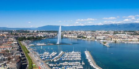 bird's eye view: Aerial view of Leman lake -  Geneva city in Switzerland Stock Photo