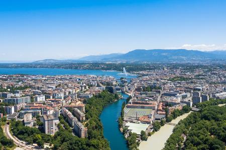 Vue aérienne de la ville de Genève en Suisse Banque d'images