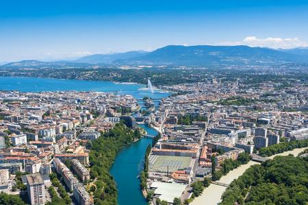 スイス連邦共和国のジュネーブ市の空撮