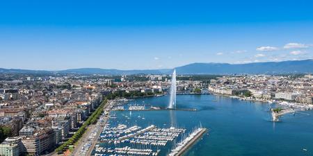 fountain: Aerial view of Leman lake -  Geneva city in Switzerland Stock Photo