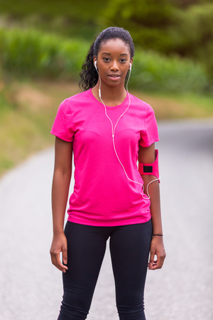 woman running: African american woman jogger portrait  - Fitness, people and healthy lifestyle