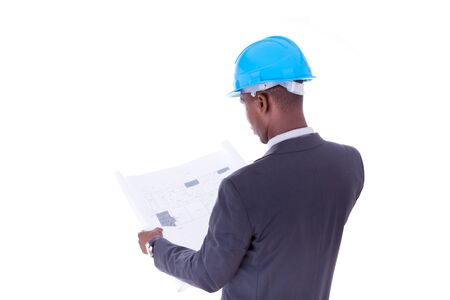construction plans: African American architect isolated on white background - black people