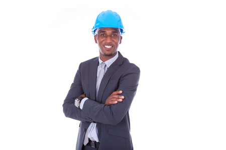 young engineer: African American architect isolated on white background - black people
