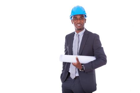 hombre con sombrero: Arquitecto afroamericano aislada en el fondo blanco - los negros Foto de archivo