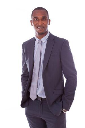 negras africanas: Hombre de negocios del afroamericano sobre el fondo blanco - los negros