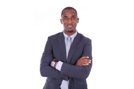 man business: African american business man with folded arms over white background - Black people Stock Photo