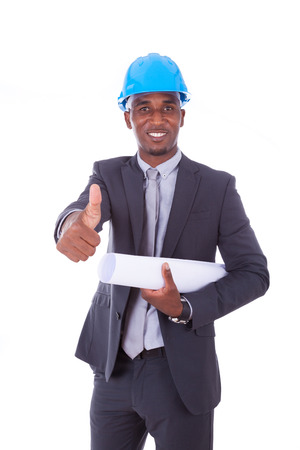 black hat: African American architect  making thumbs up isolated on white background - black people Stock Photo