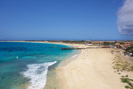 aerial view: Aerial view of Santa Maria beach in Sal Island Cape Verde - Cabo Verde