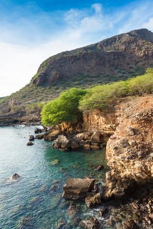 barlavento: Tarrafal wild coastline in Santiago island in Cape Verde - Cabo Verde