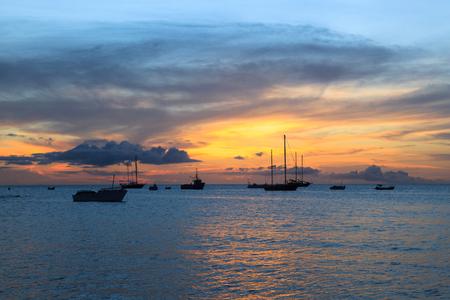 Sunset in Tarrafal beach in Santiago island in Cape Verde - Cabo Verde Stock Photo