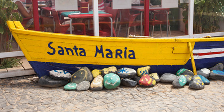 cape: Old fisher boat in Santa Maria in Cape Verde Islands - Cabo Verde Stock Photo